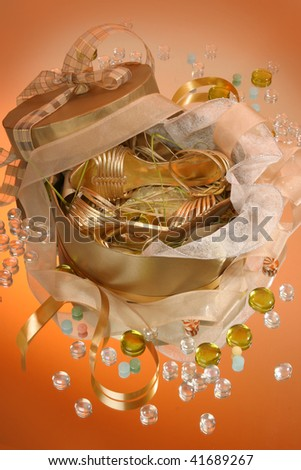 Female shoes in celebratory packing - stock photo