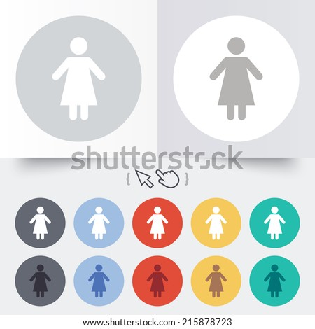 Female sign icon. Woman human symbol. Women toilet. Round 12 circle buttons. Shadow. Hand cursor pointer. - stock photo