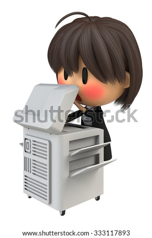 Female staff to blush to use the copy machine - stock photo