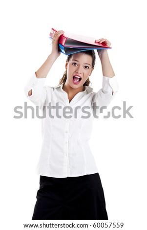 Female student holding folders, isolated on white background - stock photo
