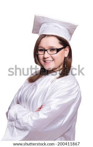 Female student isolated on white - stock photo