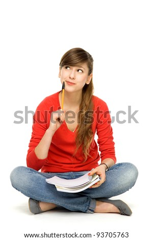 Female student thinking - stock photo
