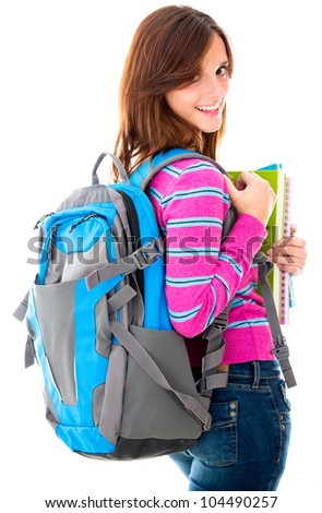 Female student with a bag - isolated over white background - stock photo