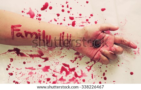 Female suicide with family messages on arm ,Vintage style - stock photo