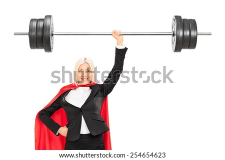 Female superhero lifting a barbell isolated on white background - stock photo