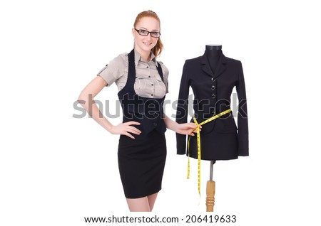 Female tailor isolated on the white - stock photo