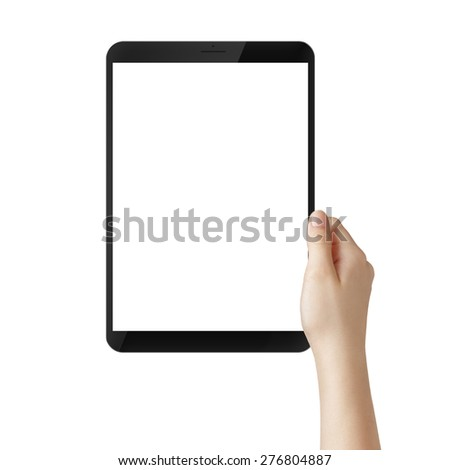 female teen hand hold tablet pc with white screen, isolated - stock photo