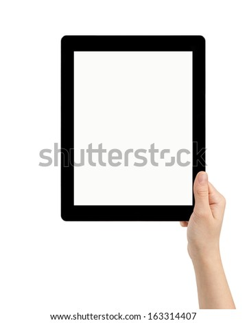 female teen hand holding tablet pc with white screen, isolated - stock photo