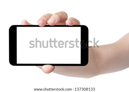 female teen hand showing generic touch device, isolated in white with white screen - stock photo