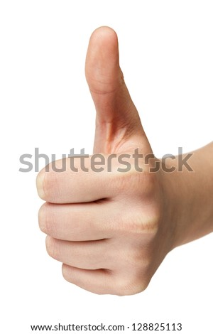female teen hand shows thumbs up, isolated on white - stock photo