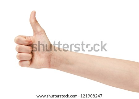 female teen hand thumb up, isolated on white background - stock photo