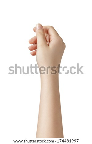 female teen hand to hold something from above, isolated - stock photo