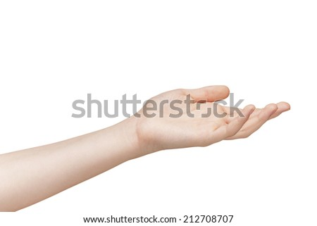 female teen hand to hold something, isolated on white - stock photo