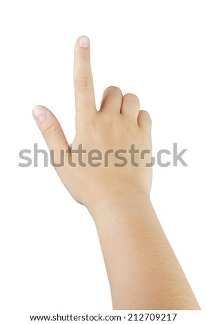 female teen hand touch gesture for tablet or smartphone, isolated on white - stock photo