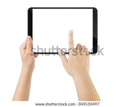 female teen hand using tablet pc with white screen, isolated on white - stock photo