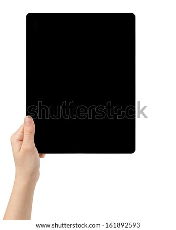 female teen hands holding tablet pc with black screen, isolated - stock photo