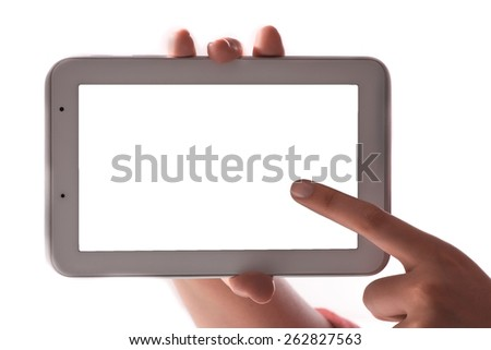 female teen hands using tablet on white background - stock photo