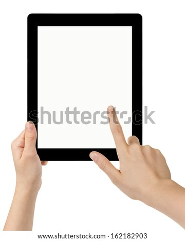 female teen hands using tablet pc with white screen, isolated - stock photo