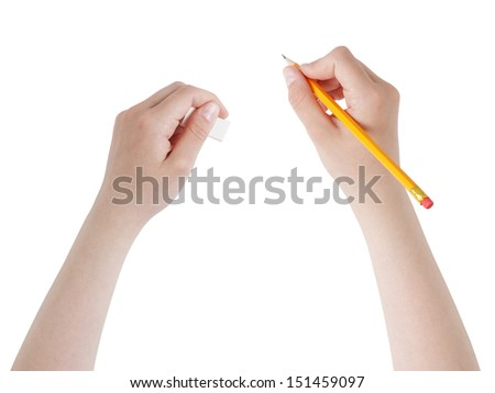 female teen hands with pencil and eraser, isolated - stock photo