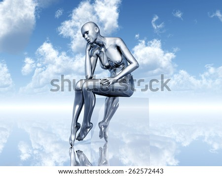 Female Thinker Computer generated 3D illustration - stock photo