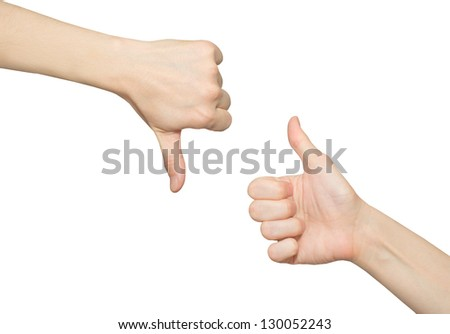 Female thumb up hand and thumb down hand, on a white background - stock photo