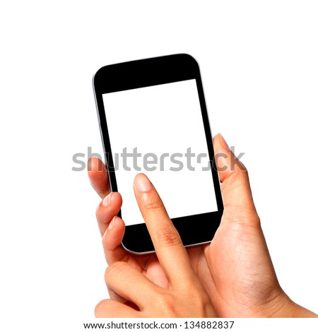 female touch mobile phone isolated on white background - stock photo
