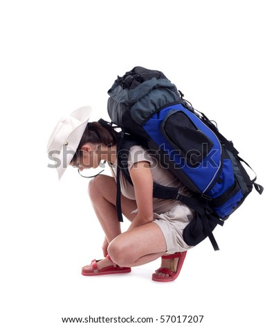 female tourist with backpack isolated on the white background - stock photo