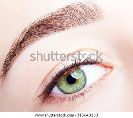 Female unusual green pistachio colour eye  with day makeup - stock photo
