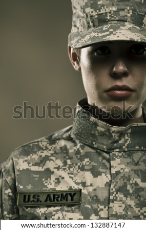 Female US Army Soldier - stock photo