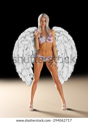Female wearing sexy lingerie with white angel wings down. Photo realistic 3d illustration. - stock photo