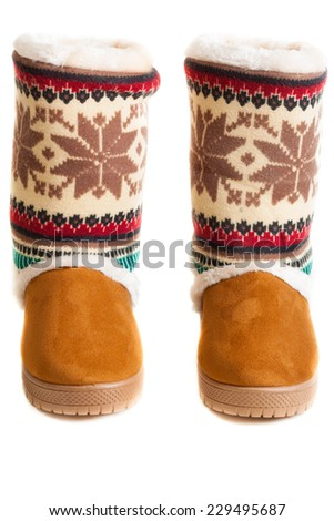 female winter boots - stock photo