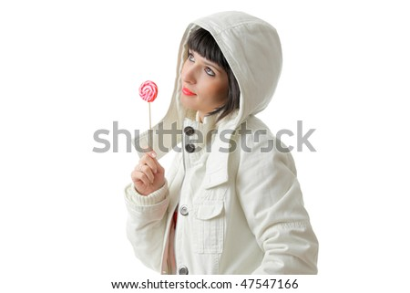 Female with a lollypop isolated on white background - stock photo