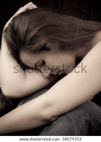 Female with Depression - stock photo