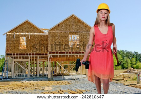 Female woman Construction Worker on a job site - stock photo