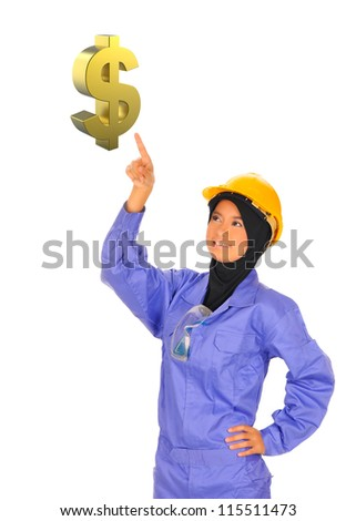 female worker chooses a Gold Dollar Sign.On a white background - stock photo