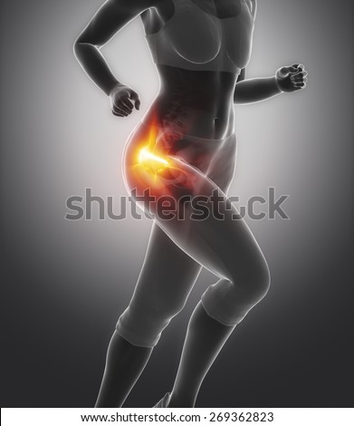 Femural head pain - hip injury concept - stock photo