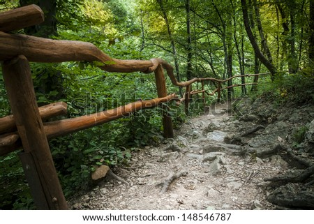 fence above the river in Crimean Grand Canyon - stock photo