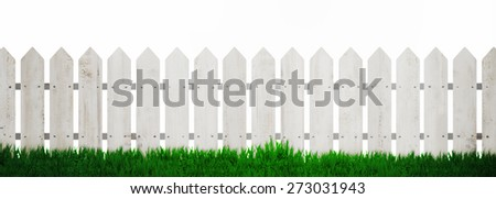 Fence background with green grass isolated over white background - stock photo