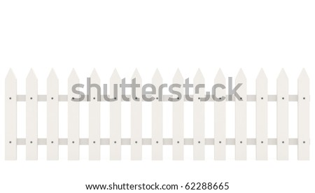 Fence isolated on white - 3d illustration - stock photo