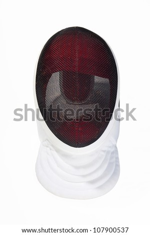 fencers mask on a white background - stock photo