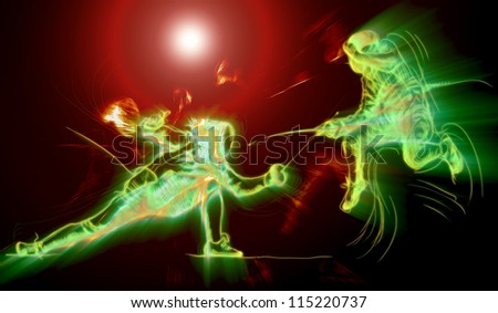 Fencing. Effects of fire and glow in fencing duel. (Drawing.) - stock photo