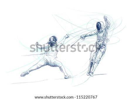 "Fencing. Full-sized (original) hand drawing (useful for converting ""live trace"" for the vector image - and others). Technique: digital tablet. Number of colors: hundreds - stock photo"