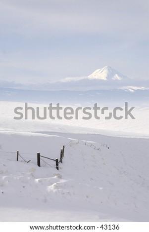 Fencing the Mountain White - stock photo