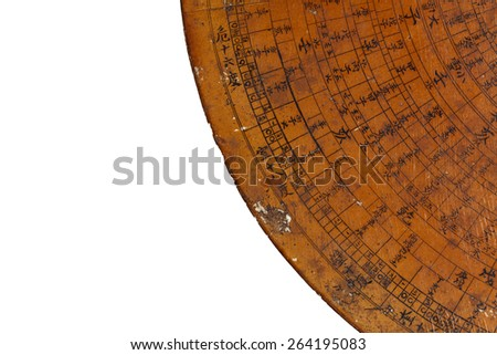 Feng Shui compass plate on white background - stock photo