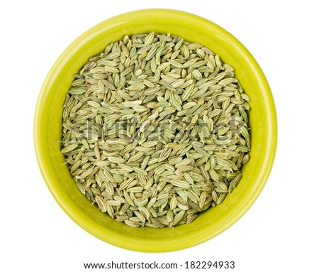 fennel seeds in a green bowl isolated on white background - stock photo