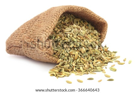 Fennel seeds in a sack over white background - stock photo