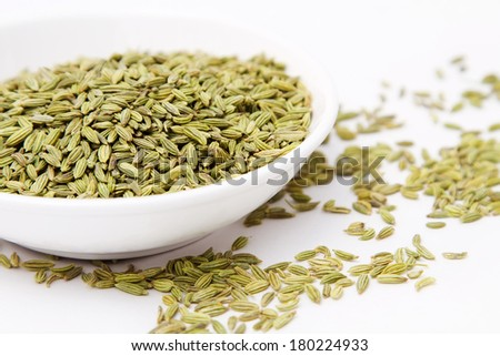 Fennel seeds in white bowl - stock photo