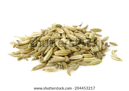 fennel seeds on white background - stock photo