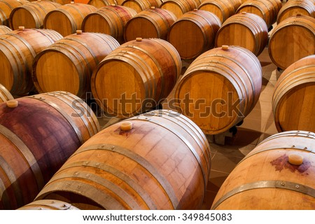 Fermentation and aging of selected wine varieties in oak wine barrels in a winery cellar. - stock photo