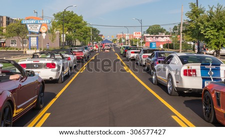 "FERNDALE, MI/USA - AUGUST 15, 2015: 14 Ford Mustang cars at ""Mustang Alley"", part of the Woodward Dream Cruise. Woodward is a National Scenic Byway. - stock photo"